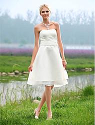 cheap -A-line Strapless Knee-length Lace Wedding Dress