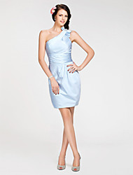 cheap -Sheath / Column One Shoulder Short / Mini Satin Bridesmaid Dress with Bow(s) / Ruched / Side Draping
