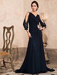 cheap -A-Line V Neck Sweep / Brush Train Chiffon Empire / Blue Formal Evening Dress with Crystals 2020