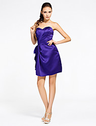 cheap -Sheath / Column Strapless Sweetheart Short / Mini Satin Bridesmaid Dress with Draping Ruched Criss Cross by