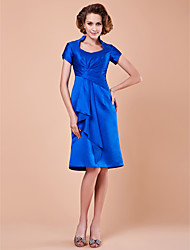 cheap -A-Line Mother of the Bride Dress Vintage Inspired Queen Anne Knee Length Satin Short Sleeve with Pick Up Skirt Criss Cross Draping 2020