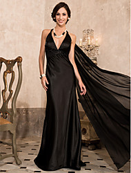 cheap -Sheath / Column Celebrity Style Open Back Formal Evening Military Ball Dress Plunging Neck Sleeveless Watteau Train Sweep / Brush Train Chiffon Stretch Satin with Beading Draping 2021