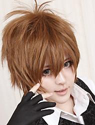 cheap -Reborn! Tsunayoshi Sawada Cosplay Wigs Men's 12 inch Heat Resistant Fiber Brown Anime