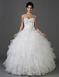 cheap -Ball Gown Wedding Dresses Sweetheart Neckline Strapless Floor Length Organza Taffeta Sleeveless Sparkle & Shine with 2021