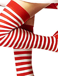 cheap -Socks / Long Stockings Women's Christmas Halloween New Year Festival / Holiday Cotton Red and White Carnival Costumes