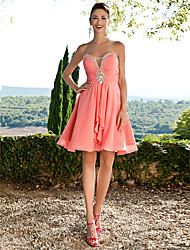 cheap -A-Line Flirty Empire Homecoming Cocktail Party Dress Sweetheart Neckline Sleeveless Short / Mini Chiffon with Ruched Crystals Beading 2021