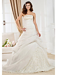cheap -Ball Gown Wedding Dresses Strapless Court Train Organza Sleeveless with Lace Pick Up Skirt Ruched 2021