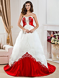 cheap -Princess A-Line Wedding Dresses Strapless Court Train Satin Sleeveless Wedding Dress in Color with 2020