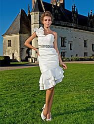 cheap -Sheath / Column Wedding Dresses One Shoulder Asymmetrical Knee Length Taffeta Sleeveless Little White Dress with 2021