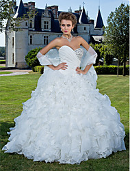 cheap -Ball Gown Wedding Dresses Sweetheart Neckline Strapless Chapel Train Organza Sleeveless with 2021