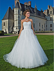 cheap -Ball Gown Wedding Dresses Strapless Sweetheart Neckline Chapel Train Tulle Sleeveless with 2020