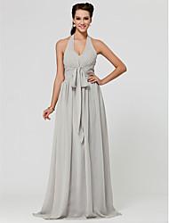 cheap -Princess / A-Line Halter Neck / V Neck Floor Length Chiffon Bridesmaid Dress with Sash / Ribbon / Ruched / Draping