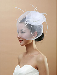 cheap -One-tier Cut Edge Wedding Veil Blusher Veils / Birdcage Veils with Feather Tulle