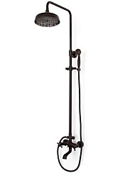 cheap -Shower System Set - Rainfall Antique Oil-rubbed Bronze Shower System Brass Valve Bath Shower Mixer Taps