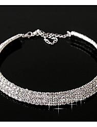 cheap -Synthetic Diamond Layered Necklace Statement Ladies Casual Birthstones Diamond Alloy Screen Color Silver Necklace Jewelry For