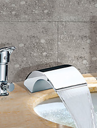 cheap -Bathtub Faucet - Contemporary Chrome Roman Tub Ceramic Valve Bath Shower Mixer Taps / Two Handles Three Holes