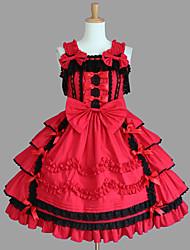 cheap -One-Piece/Dress Punk Lolita Lolita Cosplay Lolita Dress Red / Chocolate Patchwork Sleeveless Medium Length Dress For Women Cotton
