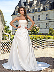 cheap -Princess A-Line Wedding Dresses Strapless Chapel Train Satin Sleeveless with 2020