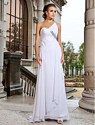 cheap -Sheath / Column Prom Formal Evening Military Ball Dress One Shoulder Sleeveless Sweep / Brush Train Chiffon with Criss Cross Crystals Beading 2021