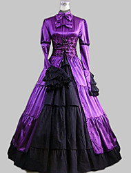cheap -Gothic Lolita Classic Lolita Aristocrat Lolita Dress Women's Satin Cotton Party Prom Vintage Style Japanese Cosplay Costumes Plus Size Customized Dark Purple Ball Gown Solid Color Patchwork Long