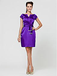 cheap -Sheath / Column V Neck / Notched Knee Length Stretch Satin Bridesmaid Dress with Sash / Ribbon / Criss Cross / Beading