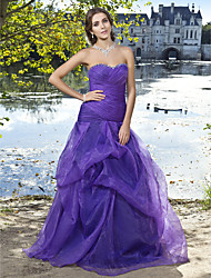 cheap -Ball Gown Vintage Inspired Quinceanera Prom Formal Evening Dress Sweetheart Neckline Strapless Sleeveless Floor Length Organza with Pick Up Skirt Criss Cross Ruched 2021