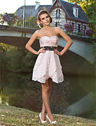 cheap -Ball Gown Cocktail Party Prom Sweet 16 Dress Sweetheart Neckline Strapless Sleeveless Short / Mini Satin Chiffon with Sash / Ribbon Criss Cross Beading 2021