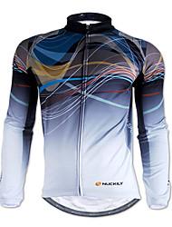 cheap -Nuckily Men's Long Sleeve Cycling Jersey Gray Stripes Bike Jersey Top Mountain Bike MTB Road Bike Cycling Thermal / Warm Breathable Sports Winter 100% Polyester Fleece Clothing Apparel