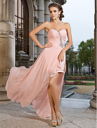 cheap -Sheath / Column Open Back Prom Formal Evening Dress Sweetheart Neckline Strapless Sleeveless Asymmetrical Short / Mini Chiffon with Ruched Crystals Split Front 2021
