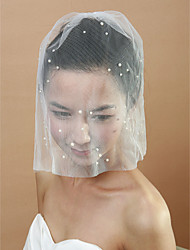 cheap -One-tier Cut Edge Wedding Veil Blusher Veils with Pearl 30 cm Tulle
