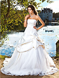 cheap -Ball Gown Wedding Dresses Strapless Chapel Train Satin Strapless Open Back with Bowknot Pick Up Skirt Beading 2021