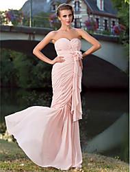 cheap -Mermaid / Trumpet Elegant Prom Formal Evening Military Ball Dress Sweetheart Neckline Strapless Sleeveless Floor Length Chiffon with Criss Cross Draping Side Draping 2021