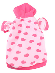 cheap -Dog Hoodie Heart Casual / Daily Winter Dog Clothes Pink Costume Polar Fleece XS S M L