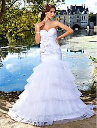 cheap -Mermaid / Trumpet Wedding Dresses Sweetheart Neckline Floor Length Organza Satin Sleeveless with 2020