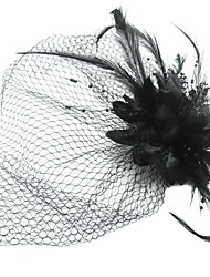 cheap -Women's Satin / Feather / Tulle Headpiece - Special Occasion Fascinators / Birdcage Veils 1 Piece