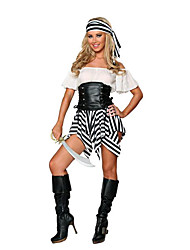 cheap -Pirate Cosplay Costume Party Costume Women's Halloween Carnival New Year Festival / Holiday Leather Spandex Lycra Black / White Carnival Costumes Patchwork