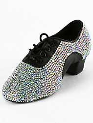 cheap -Women's Latin Shoes / Ballroom Shoes Faux Leather Lace-up Heel Rhinestone Low Heel Non Customizable Dance Shoes Black
