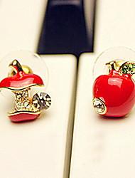 Недорогие -Серьги-гвоздики Дамы На каждый день Стразы Искусственный бриллиант Серьги Бижутерия Красный / Цвет экрана Назначение Для вечеринок Годовщина День рождения Подарок