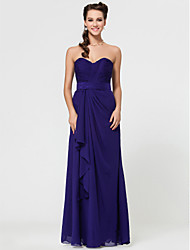 cheap -Sheath / Column Strapless / Sweetheart Neckline / Spaghetti Strap Floor Length Chiffon Bridesmaid Dress with Criss Cross / Open Back