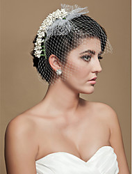 cheap -One-tier Cut Edge Wedding Veil Blusher Veils Birdcage Veils 53 Tulle