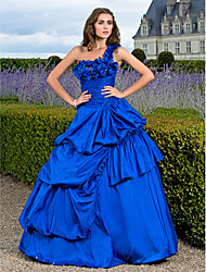 cheap -Ball Gown Vintage Inspired Quinceanera Prom Formal Evening Dress One Shoulder Sleeveless Floor Length Taffeta with Pick Up Skirt Ruched Side Draping 2021
