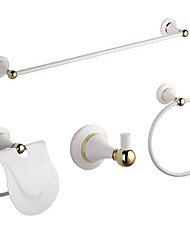 cheap -Brass Bathroom Accessories Hardware Sets Wall Mounted 4 Pieces (Towel bar/Towel Hook/Towel Ring/Toilet Paper Holder)