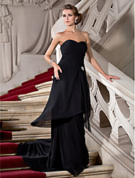 cheap -Sheath / Column Open Back Formal Evening Dress Strapless Sweetheart Neckline Sleeveless Sweep / Brush Train Chiffon with Criss Cross Draping Side Draping 2020
