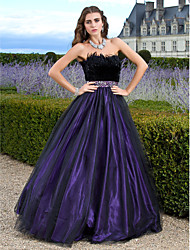 cheap -Ball Gown Elegant Sparkle & Shine Prom Formal Evening Dress Strapless Sleeveless Floor Length Tulle with Feathers / Fur Beading 2020