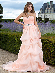 cheap -Ball Gown Vintage Inspired Quinceanera Prom Formal Evening Dress Sweetheart Neckline Strapless Sleeveless Sweep / Brush Train Organza with Pick Up Skirt Sash / Ribbon Criss Cross 2021