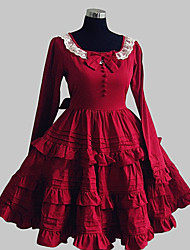 cheap -Princess Sweet Lolita Dress Women's Girls' Cotton Japanese Cosplay Costumes Red Solid Colored Bowknot Lace Long Sleeve Knee Length