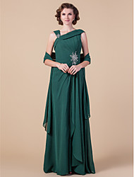 cheap -Sheath / Column Straps Floor Length Chiffon Sleeveless Wrap Included Mother of the Bride Dress with Beading / Draping / Side Draping 2020