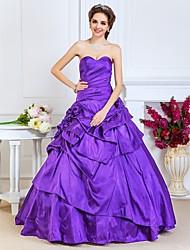 cheap -Ball Gown Open Back Quinceanera Prom Formal Evening Dress Sweetheart Neckline Strapless Sleeveless Floor Length Taffeta with Pick Up Skirt Side Draping Flower 2021
