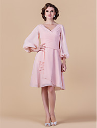 cheap -A-Line V Neck Knee Length Chiffon Mother of the Bride Dress with Draping / Criss Cross by