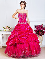 cheap -Ball Gown Vintage Inspired Quinceanera Prom Formal Evening Dress Sweetheart Neckline Strapless Sleeveless Floor Length Satin with Pick Up Skirt Beading Embroidery 2021